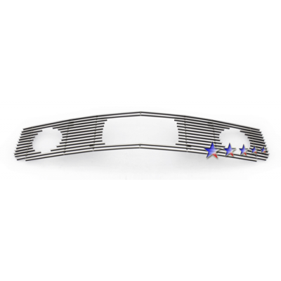 1-APS Polished Billet Aluminum Upper Grille 2005-2009 Mustang V6 with Pony Package
