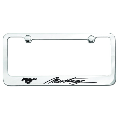 Chrome License Plate Frame with Mustang + Pony logo