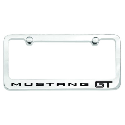 Chrome License Plate Frame with MUSTANG GT logo