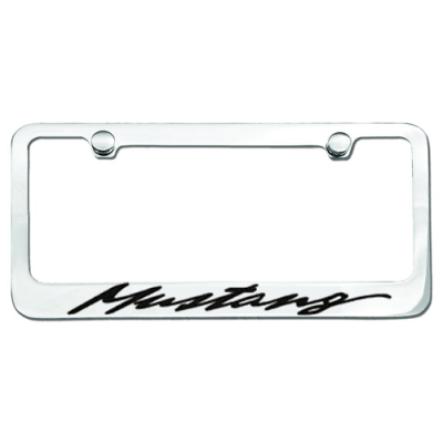 Chrome License Plate Frame with Mustang logo