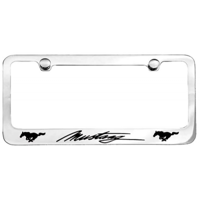 Chrome License Plate Frame with Mustang + two Horse logo