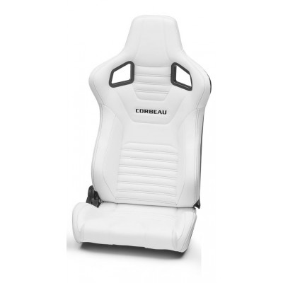 Corbeau Sportline RRS White Vinyl Seats with Black Stitching