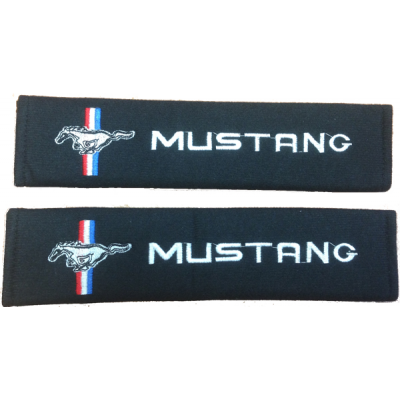 Seat belt harness pad black material pair