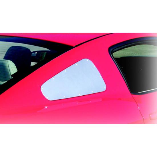 Drake Satin Aluminum Quarter Window Covers 2010-2014 Mustang