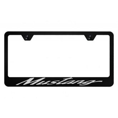 Black Metal License Plate Frame with  Mustang logo