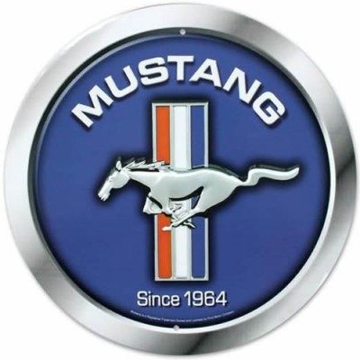 GE 12'' Round Tin Sign Mustang Since 1964