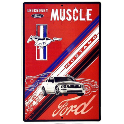 GE aluminum Mustang Muscle Red Parking Sign 12'' x 18''