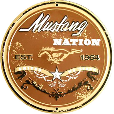 GE 12'' Round aluminum Mustang Nation Sign