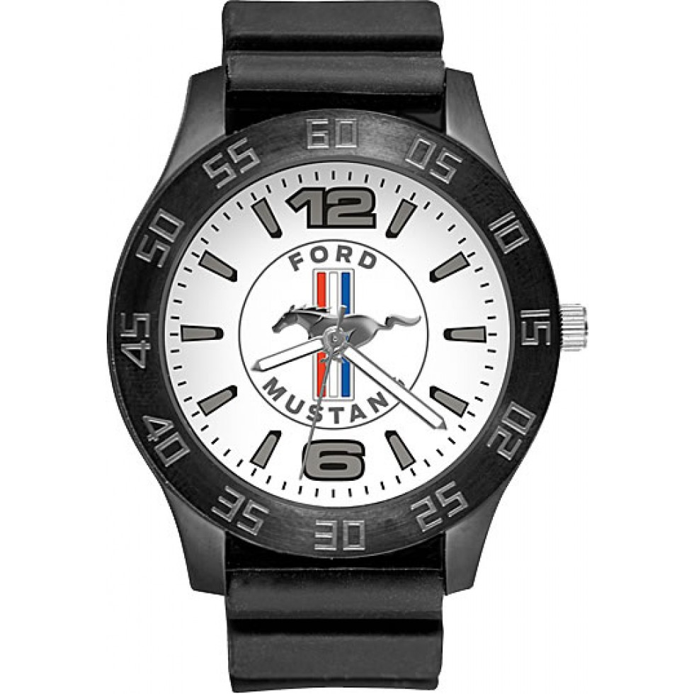 Kgd mens ford mustang watch with stainless steel 45mm case