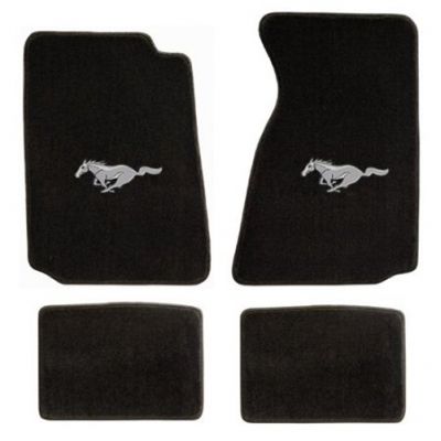 Lloyd Mats Black Ford floor mats with silver Pony logo Mustang 1994-2004