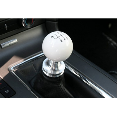 Steeda White ball shifter knobs and billet collar Mustang 2011-2014 GT V6