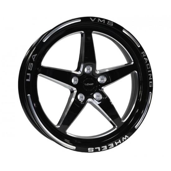 VMS Racing Mag de Drag avant 18x5-12mm Noir/Machiné 2005-2014 Mustang GT/V6 sans Brembo + 2015-2020 Mustang GT/V6/EcoBoost avec Brembo